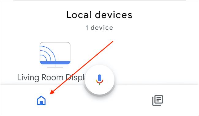 Abra la aplicación Inicio y toque el icono Inicio en la parte inferior izquierda del icono del micrófono.