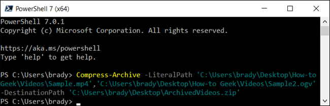 Compressez quelques fichiers dans PowerShell.