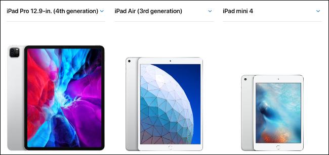 Un iPad Pro, iPad Air et iPad mini de 12,9 pouces 2020.