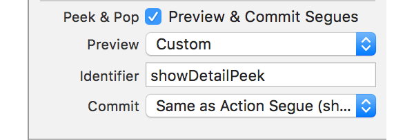 Options Peek et Pop