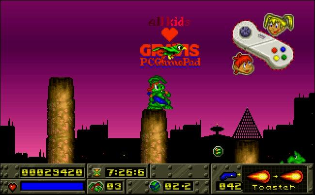 La manette de jeu Gravis PC dans «Jazz Jackrabbit».