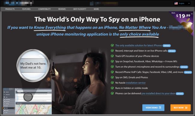 Une publicité pour un logiciel d'espionnage iPhone.