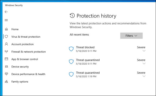 Die Liste des Schutzverlaufs in der Windows-Sicherheit unter Windows 10