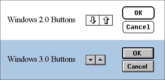 Comparaison des boutons Windows 2.0 et Windows 3.0