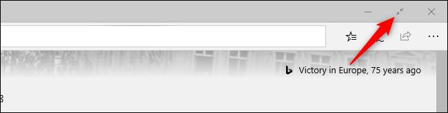 Quitter le mode plein écran du navigateur Microsoft Edge d'origine avec une souris.