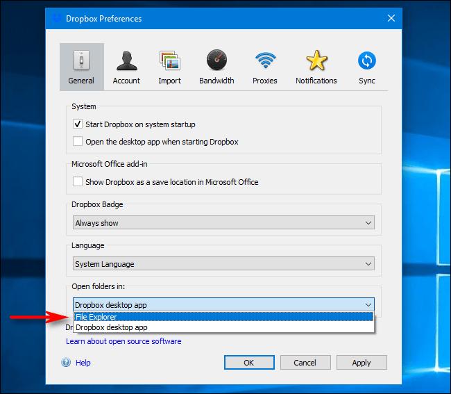 Dropbox-Einstellungen unter Windows: Wählen Sie Ordner öffnen in