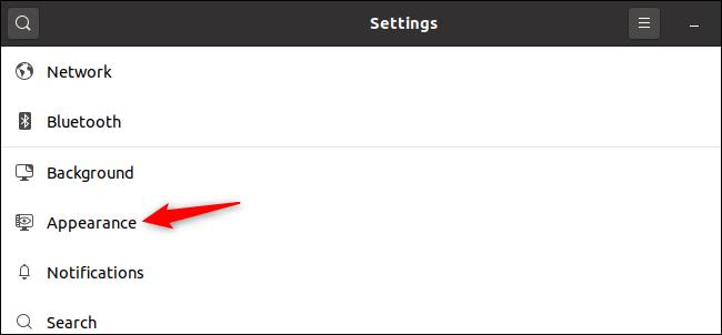 Affichage des options d'apparence de GNOME