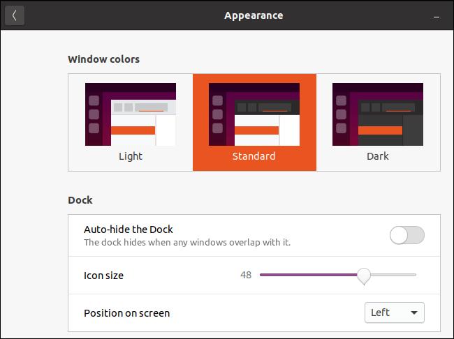 Fenêtre d'apparence d'Ubuntu avec le thème standard sélectionné.