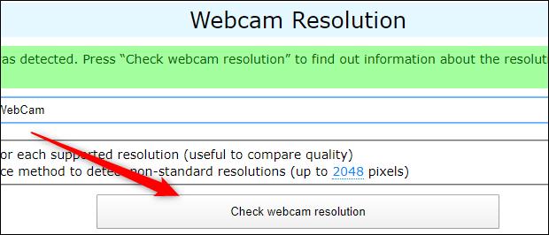 Klicken Sie auf webcamtests.com auf