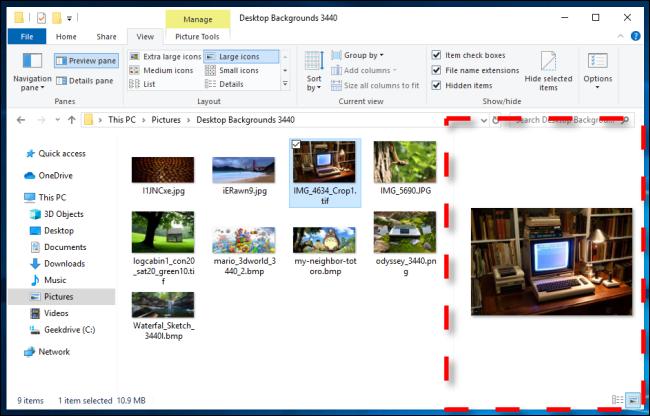 Beispiel für ein Vorschaufenster im Windows 10-Datei-Explorer