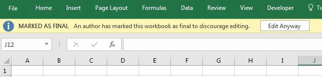 Classeur Excel marqué comme final