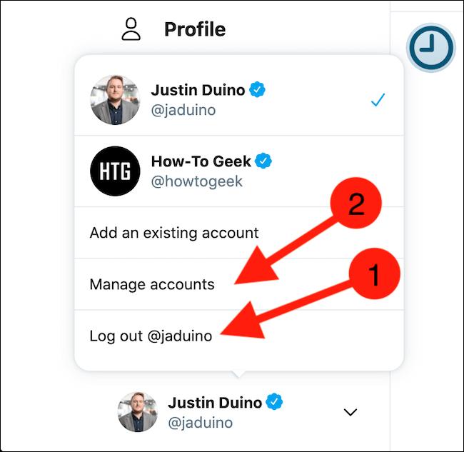"""Choisissez de vous déconnecter du compte actuel ou sélectionnez le bouton """"Gérer les comptes"""""""