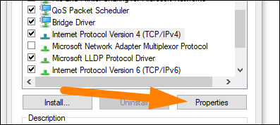 """Sélectionnez """"Internet Protocol Version 4."""""""