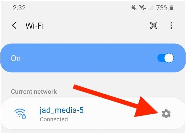 Tocca l'icona del menu Impostazioni di rete avanzate
