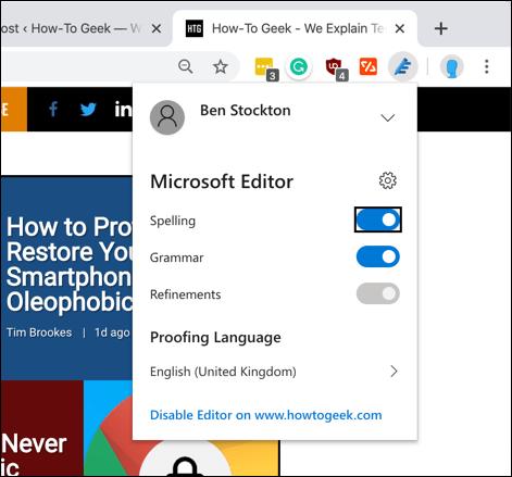 Onglet des paramètres de l'extension Microsoft Editor Chrome