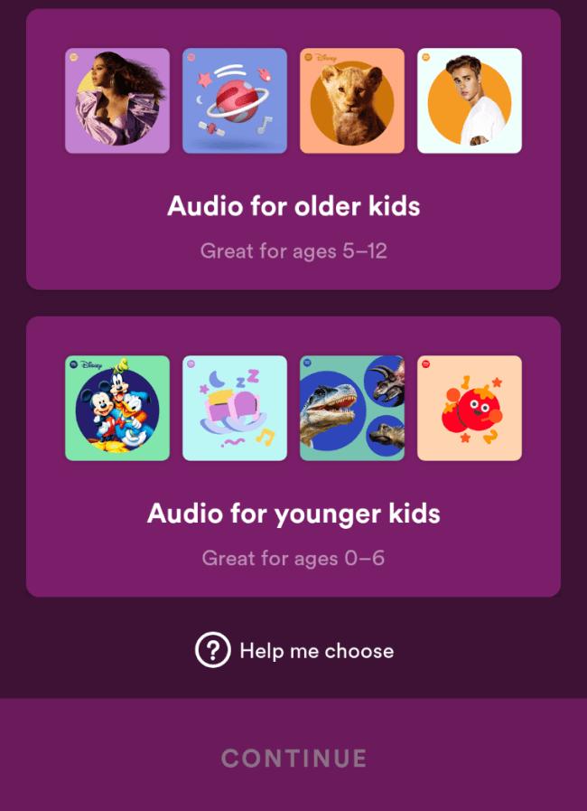 Spotify Kids elige la edad