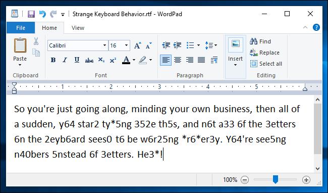 Esempio di blocco numerico attivato accidentalmente con il laptop