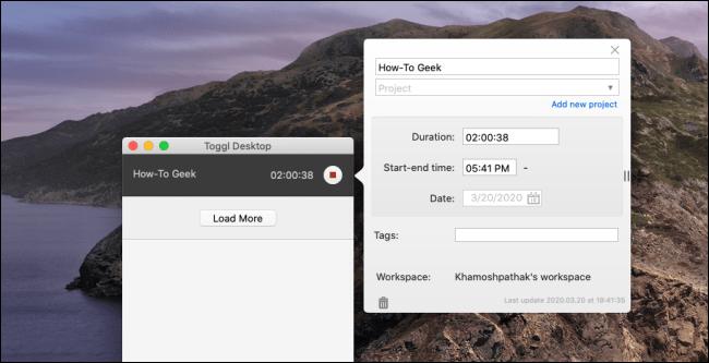 """Le """"Toggl Desktop"""" sur un Mac."""