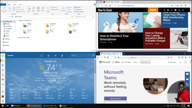 Quatre fenêtres, chacune remplissant un quart de l'écran dans Windows 10,