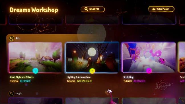 """Tutoriels dans le """"Dreams Workshop""""."""