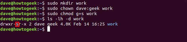 Les commandes «sudo mkdir work», «sudo chown dave: geek work», «sudo chmod g + s work» et «ls -lh -d work» dans une fenêtre de terminal.
