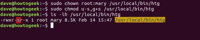Les commandes «sudo chown root: mary / usr / local / bin / htg», «sudo chmod us, g + s / usr / local / bin / htg» et «ls -lh / usr / local / bin / htg» dans une fenêtre de terminal.