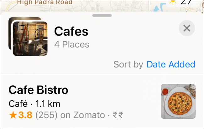 Une liste de lieux dans une collection.