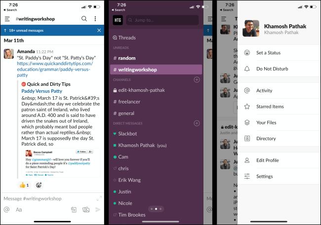 Messages non lus, chaînes et profil dans l'application Slack sur un téléphone.
