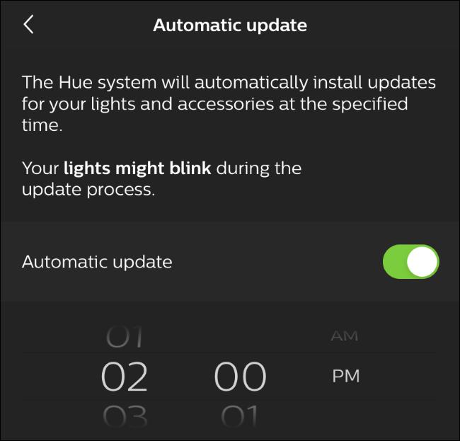 Opciones de actualización automática en la aplicación Hue