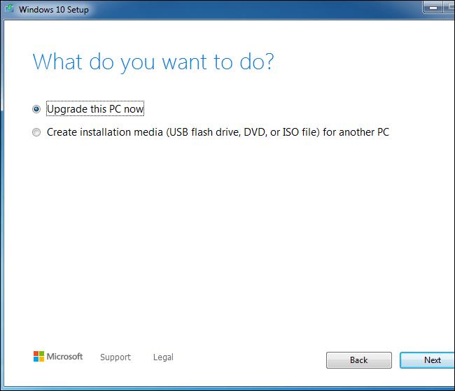 Usar la herramienta de configuración de Windows 10 para actualizar un sistema Windows 7.