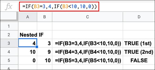 Une feuille de calcul Google Sheets affichant plusieurs instructions IF imbriquées avec des résultats TRUE et FALSE