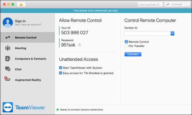 """Le menu """"Contrôle à distance"""" dans TeamViewer pour Mac."""