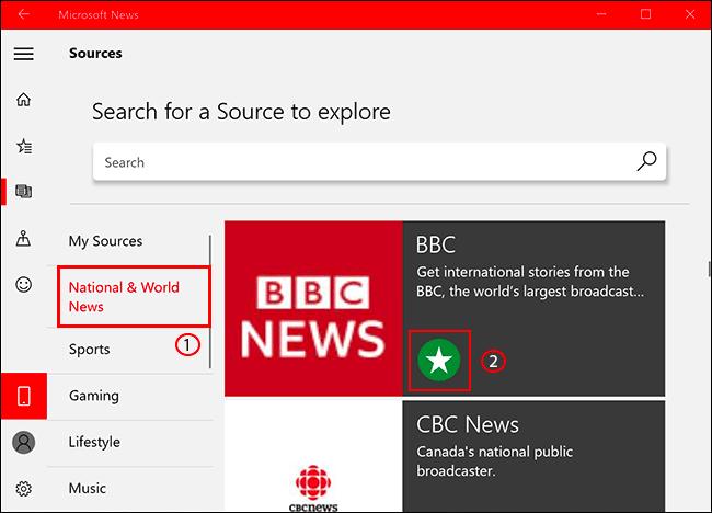 Para agregar o eliminar una fuente de noticias en Microsoft News, haga clic en la pestaña Fuentes, luego seleccione su fuente de noticias y haga clic en el ícono de estrella para agregarla / eliminarla