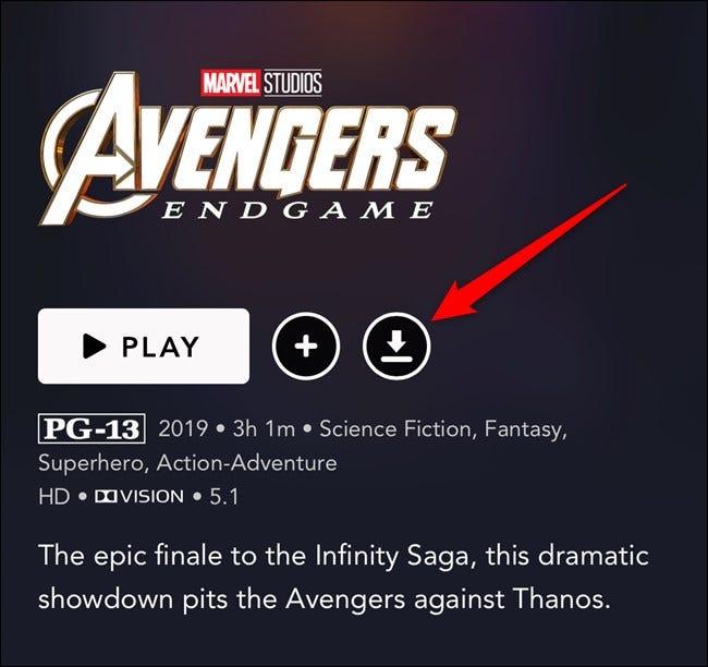 Aplicación Disney + Toque el botón de descarga