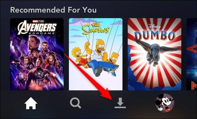 Aplicación Disney + Toca la pestaña Descargas