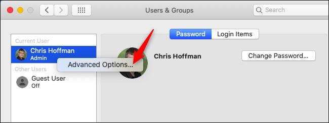 Abra opciones avanzadas en Usuarios y grupos en macOS.