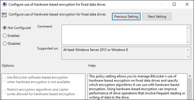 Option zum Aktivieren oder Deaktivieren der Hardwareverschlüsselung für BitLocker in Windows 10-Gruppenrichtlinien.