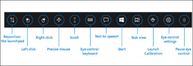 Augensteuerungsoberfläche in Windows 10