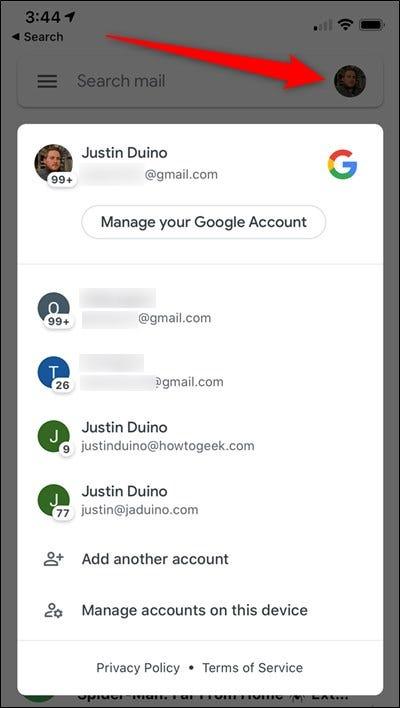 Avatar Tippen Sie auf Google Mail Account Selector für iPhone