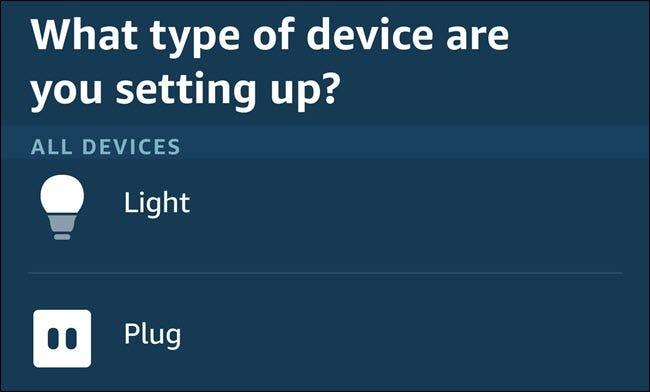 Das Menü Gerätekategorien in der Alexa-App.