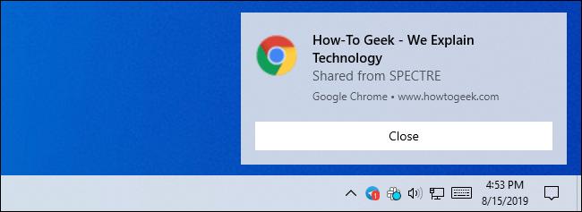 Benachrichtigung für einen freigegebenen Tab in Google Chrome unter Windows 10