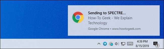Eine Windows-Desktop-Benachrichtigung zum Senden eines Chrome-Tabs an ein anderes Gerät