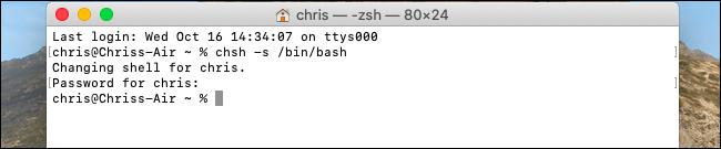 Die Standard-Shell wurde unter macOS Catalina in Bash geändert.
