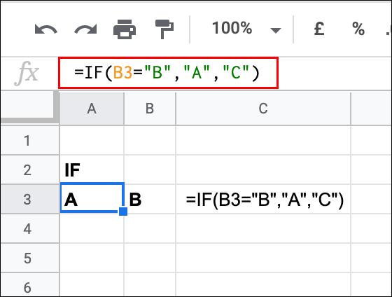 Une simple instruction IF utilisée dans Google Sheets pour tester la valeur d'une cellule, renvoyant un résultat TRUE