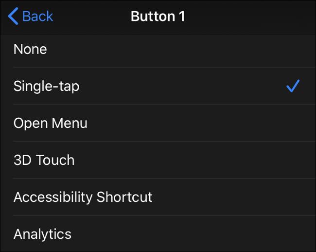 Entrées de bouton de souris disponibles dans iOS 13 (iPadOS 13)