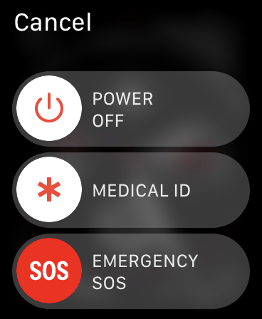 Curseur SOS d'urgence de l'Apple Watch