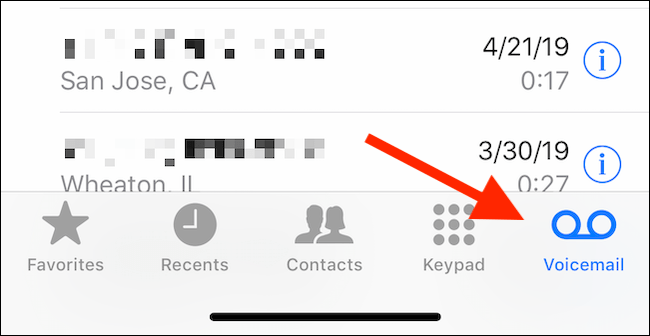 Tippen Sie in der Telefon-App auf die Registerkarte Voicemail, um die Voicemail-Nachrichten anzuzeigen