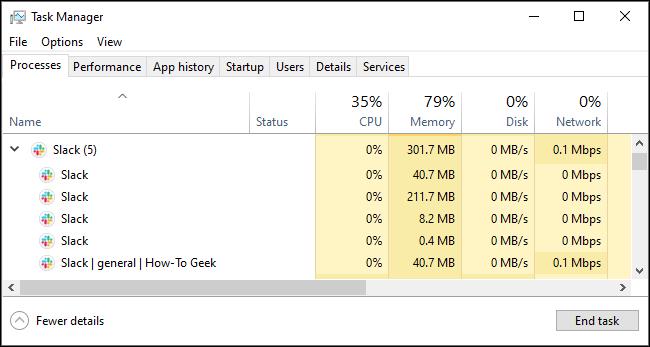 Verlangsamen Sie die Speichernutzung im Windows Task-Manager.
