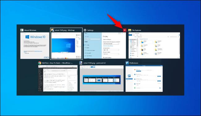 Klicken Sie auf das rote X, um ein Fenster in der Alt + Tab-Auswahl von Windows 10 zu schließen.