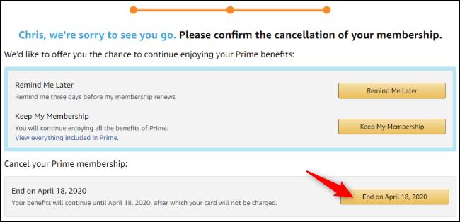Option pour annuler le renouvellement automatique Prime sur Amazon.com